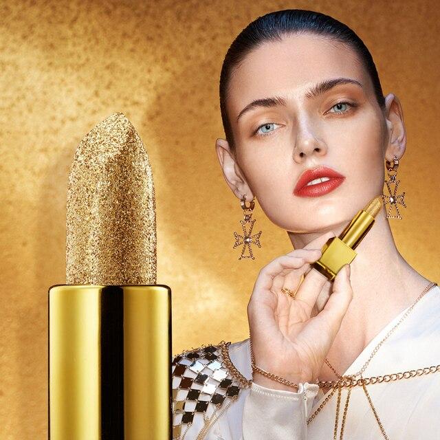Glitter Lipstick Moisturizing Makeup Velvet Matte Gold Lipstick Waterproof Lipstains Sexy Shiny Red Cosmetics Pigment Nude Rouge 3