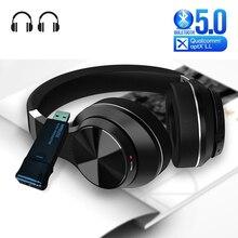 หูฟังบลูทูธ5.0 + USB Audio Transmitterพร้อมไมโครโฟนAptx LL Latencyต่ำDeep Bassชุดหูฟังไร้สายหูฟังสำหรับทีวีPS4 PC