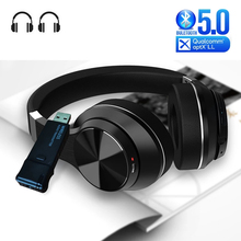 Bluetooth 5.0 Headphones + USB Audio Transmitter with Mic Aptx LL Low Latency Deep Bass Wireless Headset Earphones for TV PS4 PC