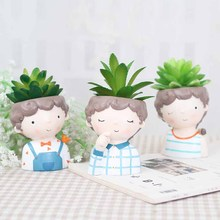 4pcs/set Cute Boy Planter European Style Succulent Plants Pot Mini Bonsai Cactus Flower Pots Home Decorative wholesale