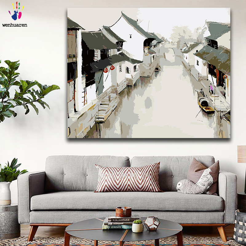 DIY Colorings Pictures By Numbers With Colors Jiangnan Water Town Chinese Style Picture Drawing Painting By Numbers Framed Home