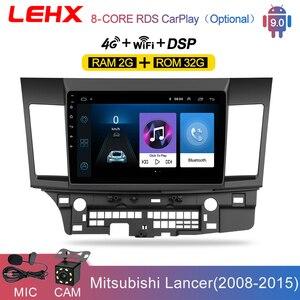 Reprodutor multimídia do carro do andróide 9.0 do carro de lehx para mitsubishi lancer 2007-2012 10.1 jogador de áudio video do andróide do rádio do ruído 2 da polegada