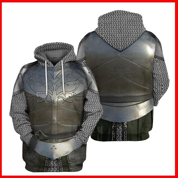 New Cosplay Men Medieval Knights Templar Armor Hoodie Crusader Cross 3D Print Hooded Pullover Halloween Sweatshirt Casual Coat