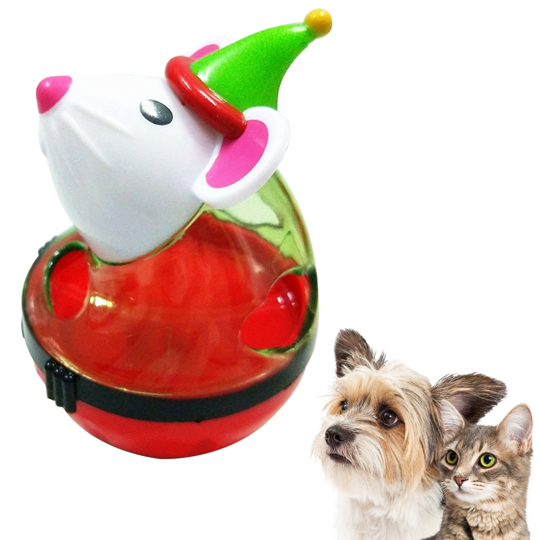 Pet Food Ball Tumbler Mouse Dog Treat Ball Food Dispenser Ball For Christmas Water Dispenser Drinking Bowls For Cats Dogs