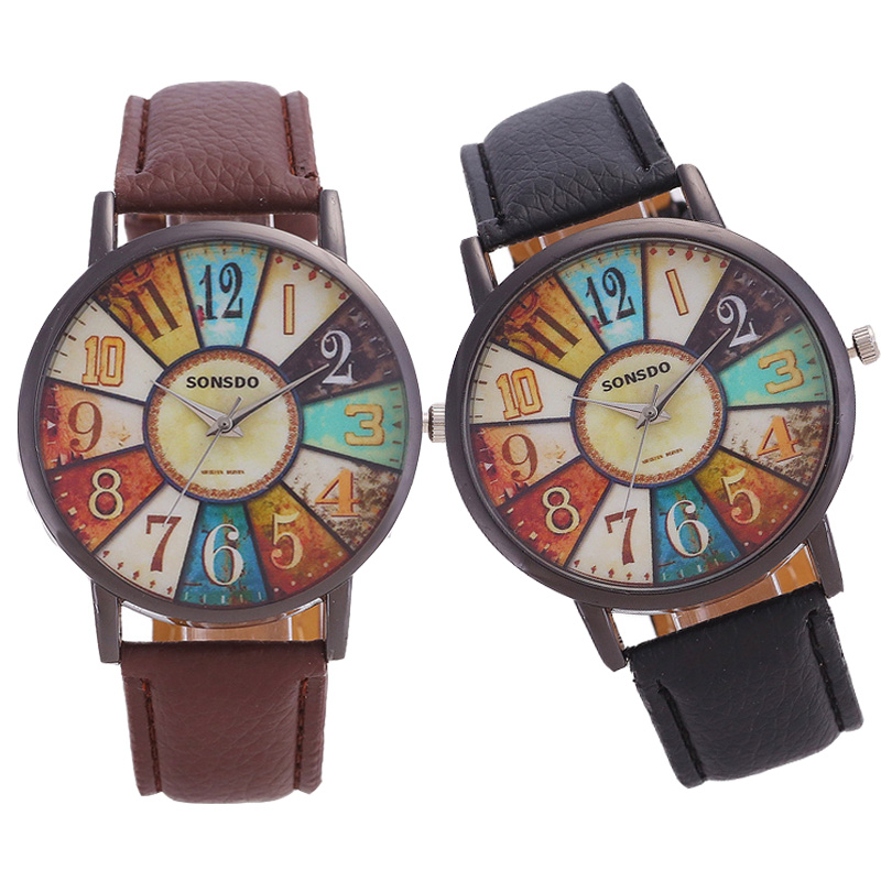Women Watch Ladies Retro Large Dial Creative Digital Turntable Leather Quartz Wristwatches For Woman Female Fashion Clock