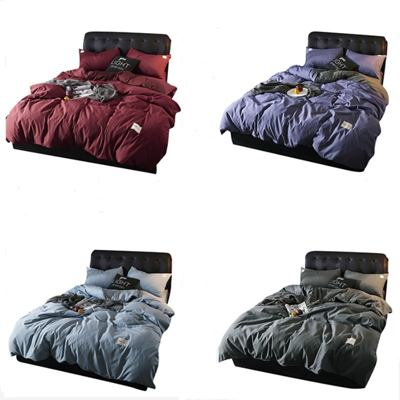 Solid Bedding Sets Cover Set Quilt Bed Set Single King Queen Double Bedclothes
