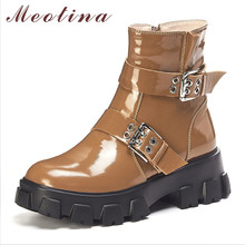 Купить с кэшбэком Meotina Autumn Motorcycle Boots Women Natural Genuine Leather Zip Thick High Heel Ankle Boots Buckle Round Toe Shoes Lady Winter