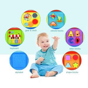 Image 5 - Çok fonksiyonlu müzikli oyuncak yürümeye başlayan bebek kutusu müzik piyano etkinlik küp geometrik blokları sıralama eğitici oyuncaklar 24 ay