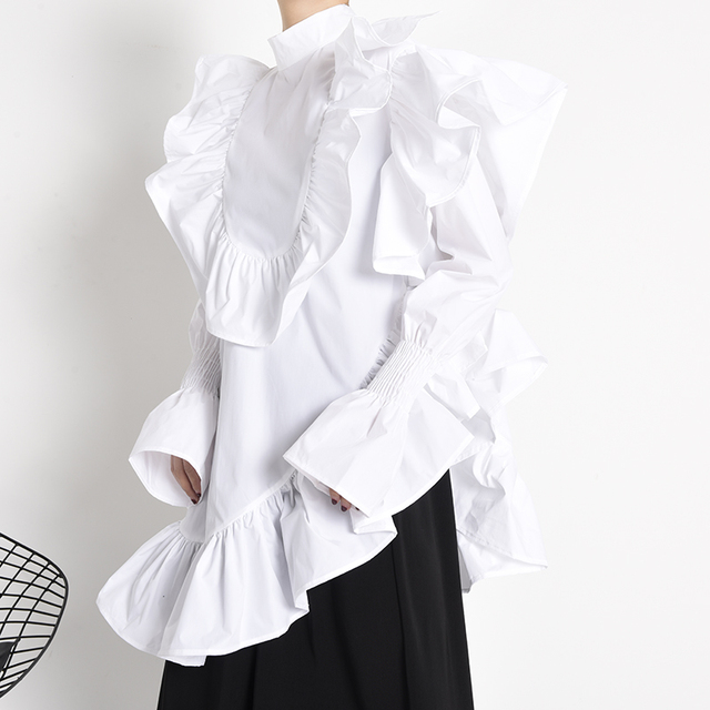 [EAM] Women Ruffles Irregular Blouse New Stand Collar Long Sleeve Loose Fit Shirt Fashion Tide Spring Autumn 2021 1Z19900 5
