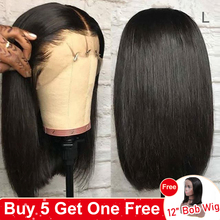 Yyong 13x4 Blunt Cut Bob Wig Short Lace Front Human Hair Wigs Brazilian Straight Bob Wigs With Baby Hair Remy Lace Front Wig 120
