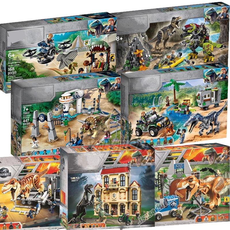 New Jurassic World Dinosaur Set Model Building Blocks Bricks With Toy Gift For Children 75935 75938 No Box