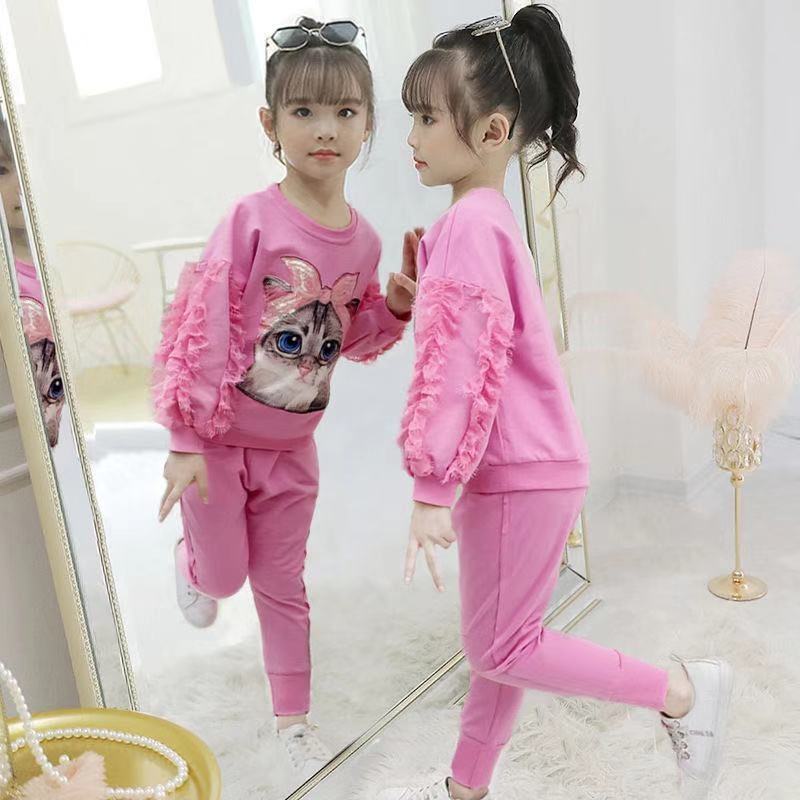Tracksuit  Girls 2020 Cotton Round Neck Pullover Girls Sport Suits Spring Fall Children Clothing Sports Set Casual Kids Outfits
