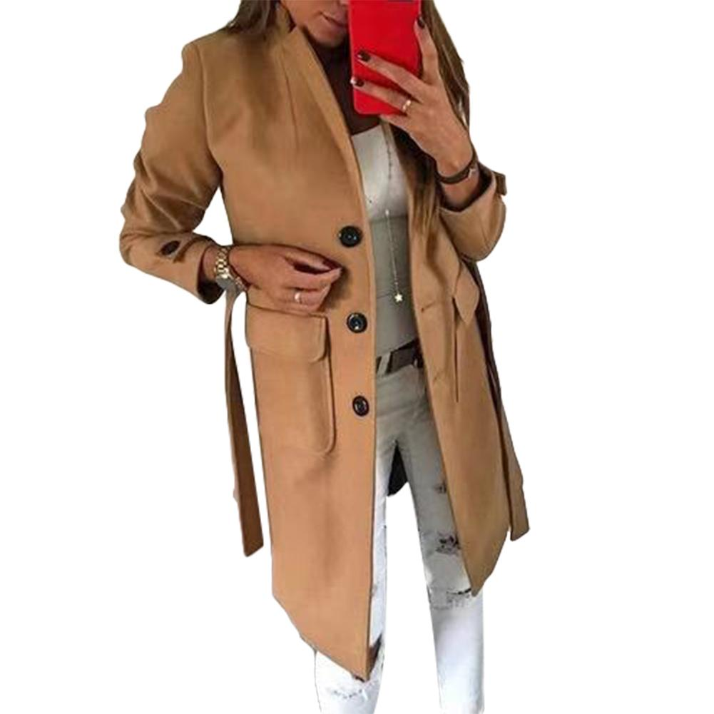 Women Winter Single-breasted Lapel Collar Pockets Thickened Woolen Trench Coat