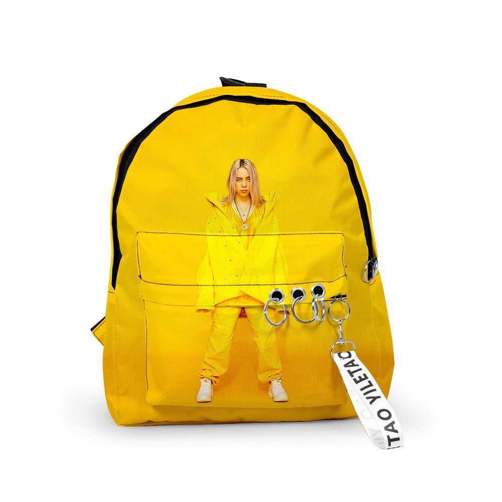 3d Billie Eilish Backpack Both Shoulders Package Men And Women Package Oxford Cloth School Wind A Bag