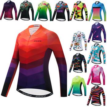 Najwyższej jakości koszulka kolarska z długim rękawem dla kobiet Pro Team rower MTB odzież rowerowa do roweru szosowego i górskiego odzież sportowa odzież rowerowa tanie i dobre opinie weimostar CN (pochodzenie) Poliester Pełna WOMEN Bicycle Jersey Shirt Women Wiosna AUTUMN Koszulki Zamek na całej długości