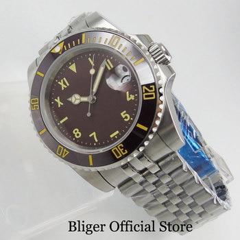 цена BLIGER Automatic Men Wristwatch 40mm Nologo Dial Sapphire Glass Jubilee Strap Ceramic Bezel онлайн в 2017 году