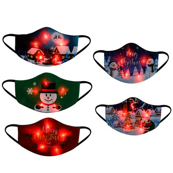 Children's Printed Mask LED Christmas Reusable Face Masks Outdoors Sunscreen Safety Protect Mouth Cover Mask Masques#BL5 image