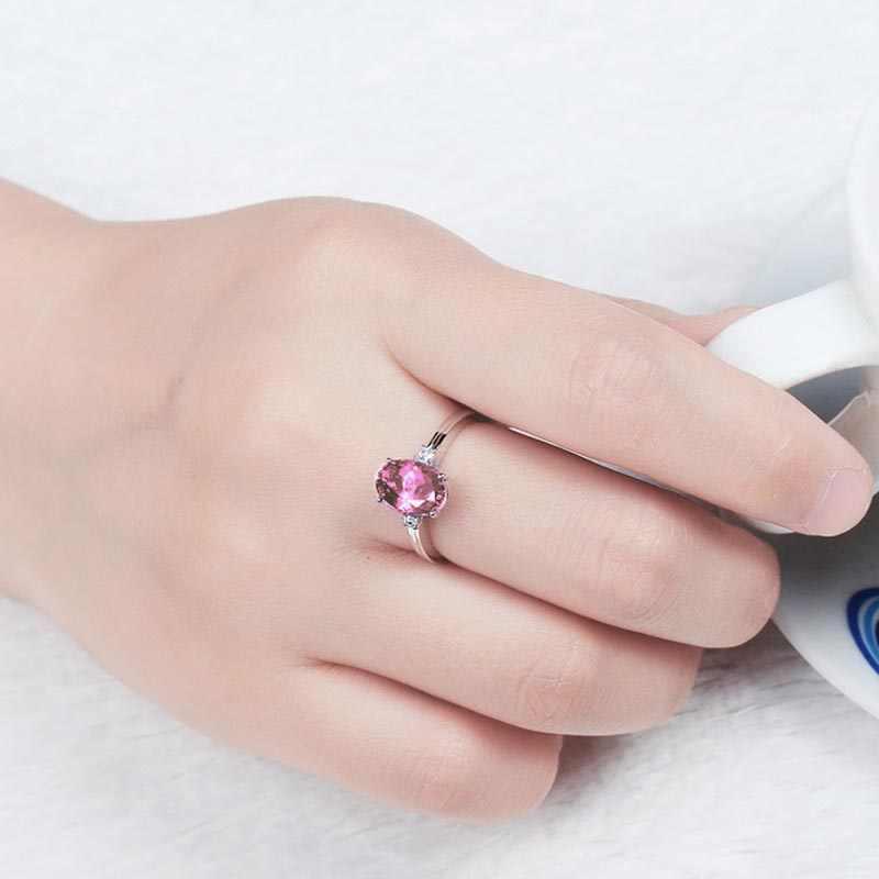 バゲ Ringen シルバー 925 オーバルブルーサファイア石女性の婚約指輪シルバー女性パーティー宝石ジュエリー