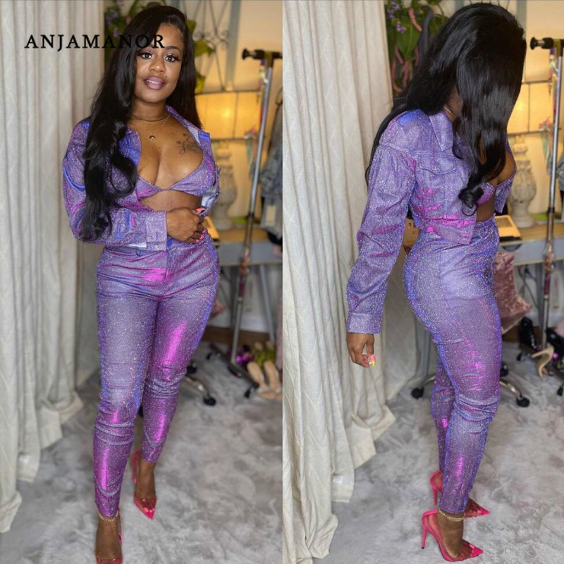 ANJAMANOR Bling Sexy 2 Piece Set Women Club Outfits Jacket And Pants Glitter Two Piece Matching Sets Spring 2020 D21-AI15