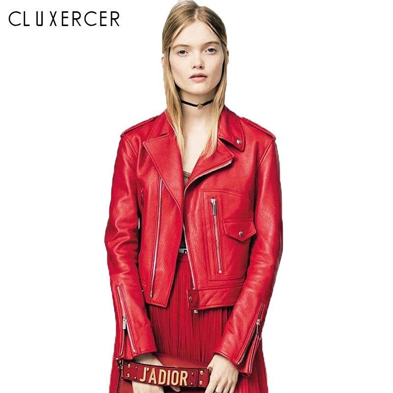 Pu   Leather   Jacket Women Fashion Bright Colors Red Black Motorcycle Coat Short Faux   Leather   Biker Jacket Soft Jacket Female