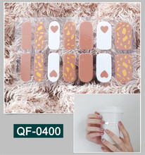 1 Sheet QF400 Sticker Heart Patterns Glitter Sequins Decals 3D Adhesive Sliders for Nails Art Decor Pregnant Woman Nail Sticker one sheet stylish color block glitter nail art sticker