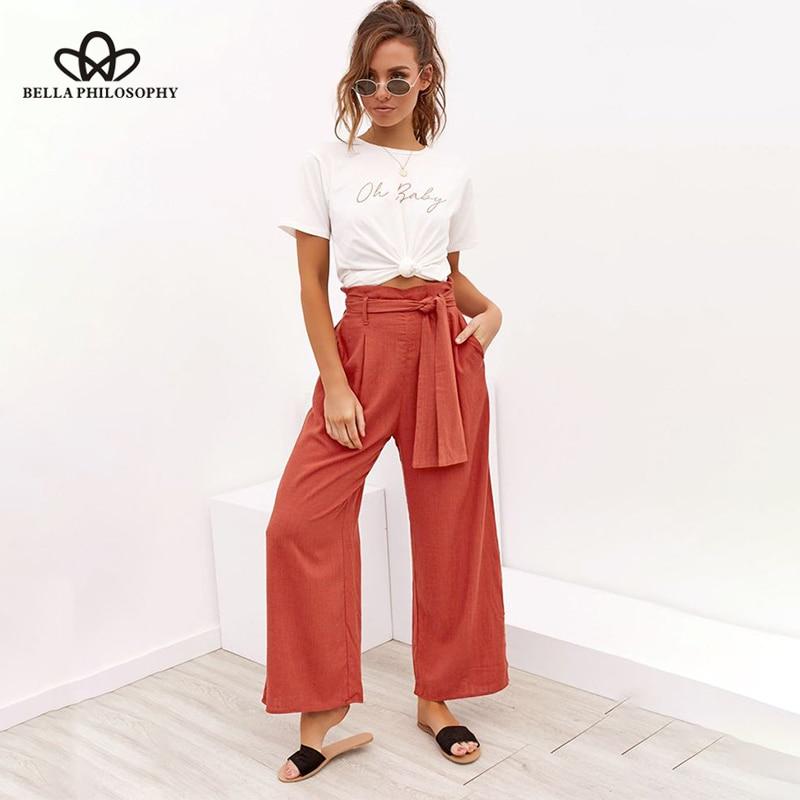 Sorte a 2020 novas calças femininas de linho de algodão banda de quatro cores com pernas largas primavera verão lazer calças femininas calças flare