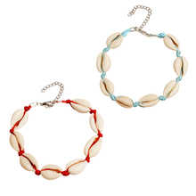 2 Pcs/ Set Red Blue Rope Chain Anklets for Women Summer Beach Creative Natural Shell Adjustable Handmade Jewelry