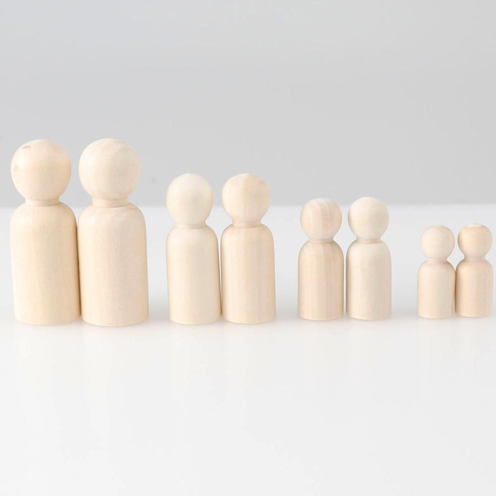 4 Size Female Male Wooden Peg Dolls Figure Wedding Cake Toppers DIY Toy 5//10Pcs