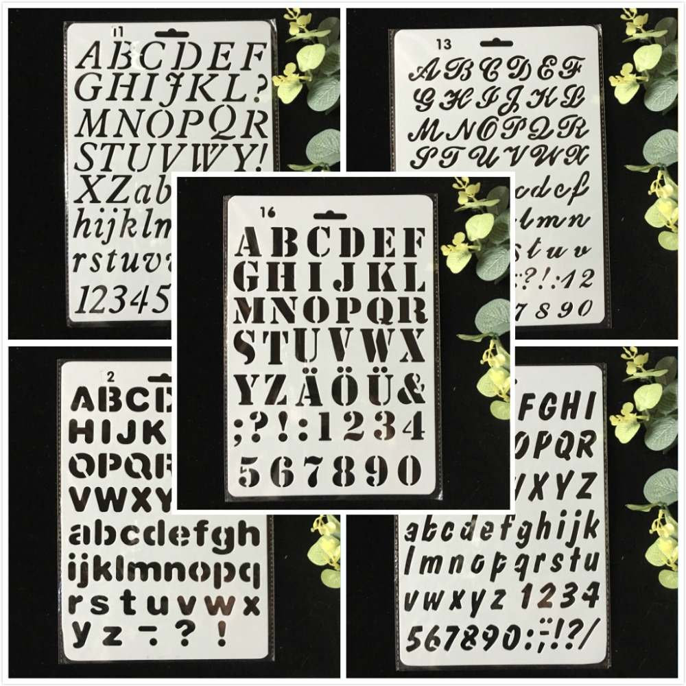 5Pcs/Lot 27cm Alphabet Letters 0-9 DIY Layering Stencils Wall Painting Scrapbook Coloring Embossing Album Decorative Template