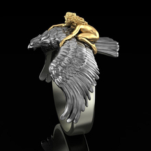 FDLK Vintage Metal Two-tone Silver Color Flying Eagle Finger Rings Punk Jewelry Gold Color Naked Girl Fashion Rings Hip Hop