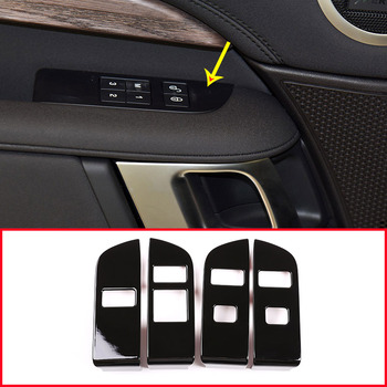 Glossy Black For Land Rover DIscovery 5 LR5 2019 LHD Year ABS Interior Child Lock Button Trim With Opening Warning
