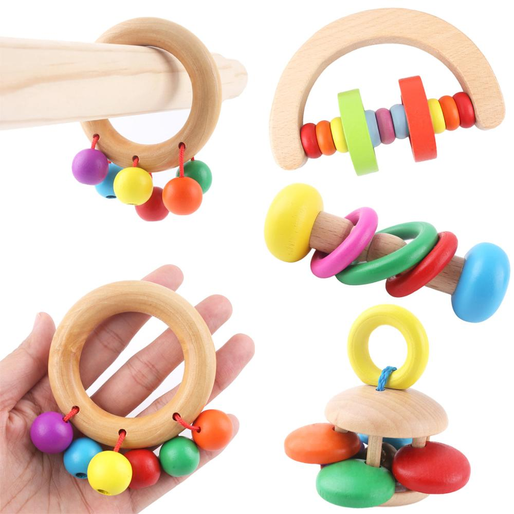 Wood Baby Toys Rattles Baby Bed Hand Bell Rattle Toy Grasp Handbell Musical Educational Instrument Toddlers Rattles Newborn Gift