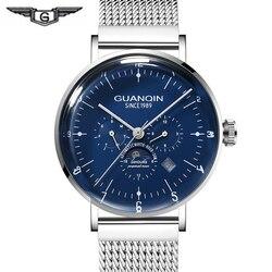 GUANQIN Skeleton Automatic Mechanical Watch Men Business Automatic Steel Waterproof  Week Date Mens Watch relogio masculino