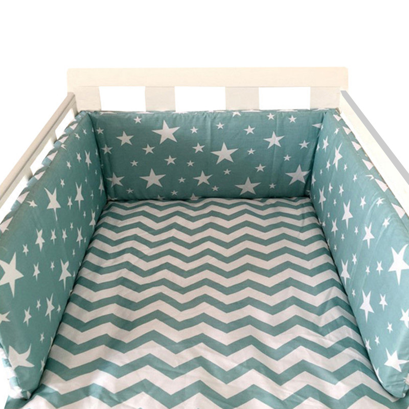 Nordic Stars Design Baby Bed Thicken Bumpers One-piece Crib Around Cushion Cot Protector  Baby Cot Pocket Hanging Storage Bag