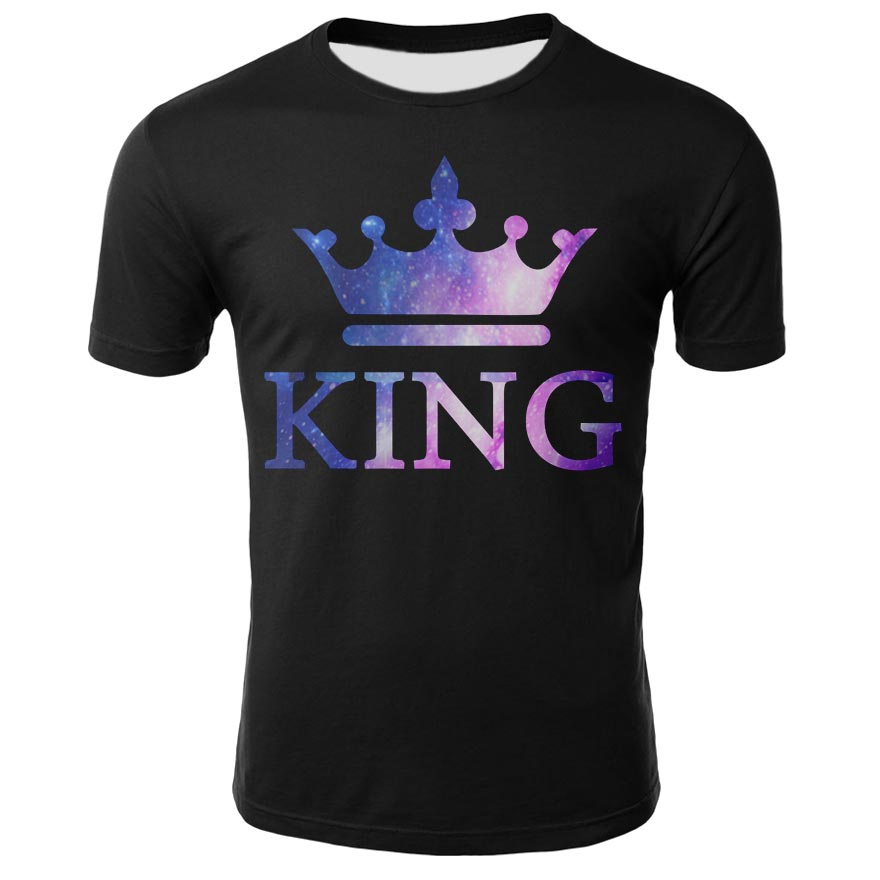 Summer men's and women's T-shirt 3D digital printing black bottoming crown graphic simple style short-sleeved breathable top
