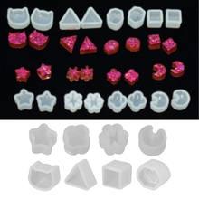 8 пар силиконовых форм из УФ-смолы, DIY прессформы из кристаллической эпоксидной смолы, маленькие серьги-гвоздики, пресс-форма для изготовлен...