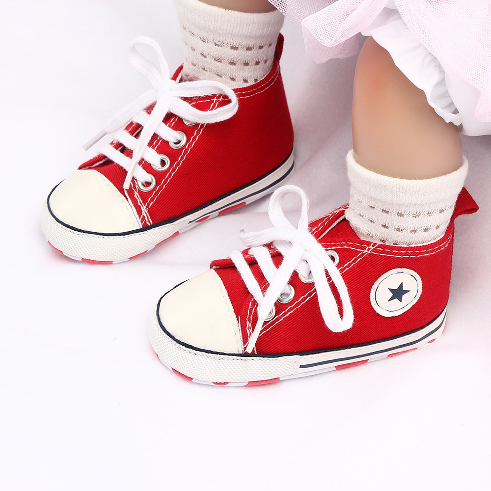Baby Shoes For Boy Girl First Walker Solid Casual Baby Girls Shoes Lace-up T-tied Baby Booties Non-slip Soft Bottom Infat Shoes