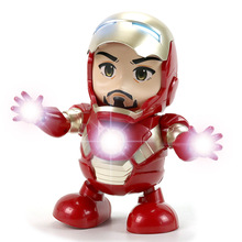 Dance Iron Man Action Figure Toy LED Flashlight with Sound Avengers Hero Electronic B652