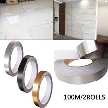 100メートル2ロールセラミックタイル防かびギャップテープ5ミリメートル、10ミリメートル、20ミリメートルゴールドシルバー黒テープ自己粘着pvc床家の装飾テープ