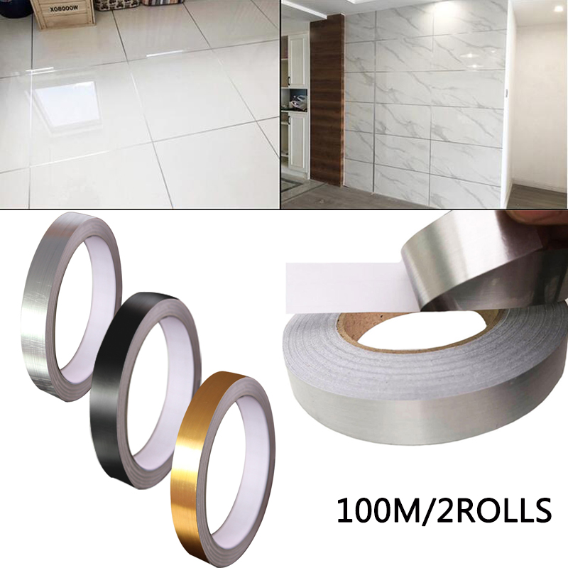 100M 2Rolls Ceramic Tile Mildewproof Gap Tape 5mm,1cm,2cm Gold Silver Black Tape Self Adhesive Wall Floor Tape Home Wall Decor