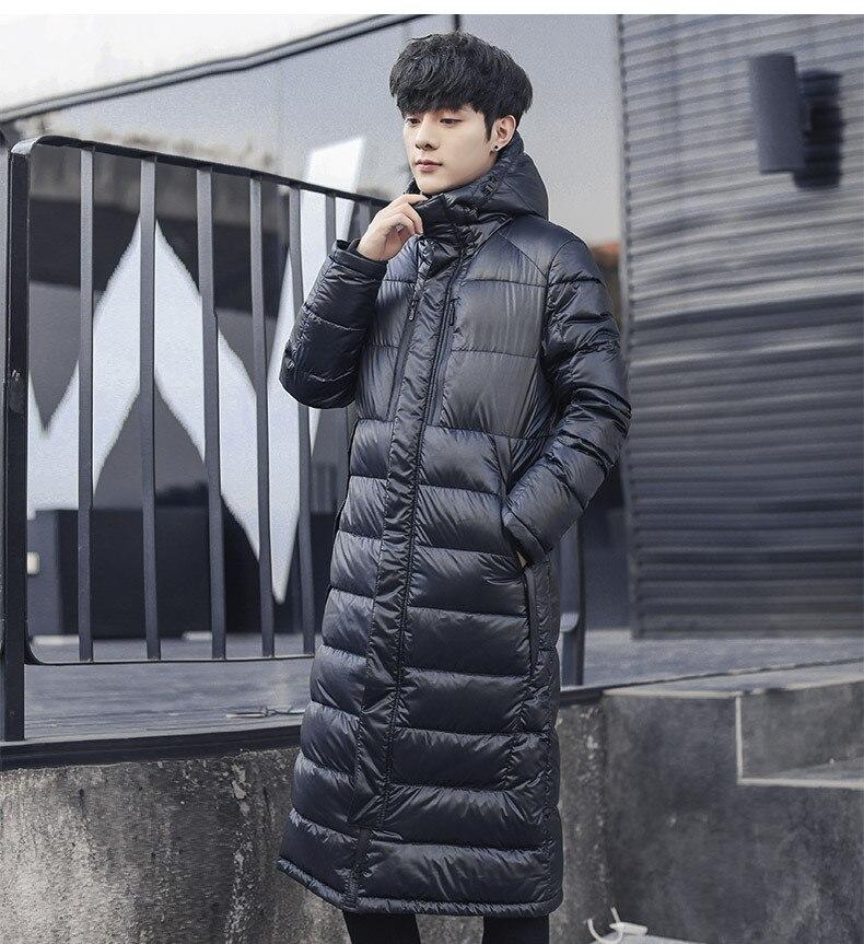 Inverno masculino para baixo jaqueta com capuz