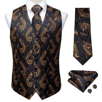 New Teal Green Paisley 100% Silk Formal Dress Vest Men Waistcoat Vest Wedding Party Vest Tie Brooch Pocket Square Set DiBanGu 25