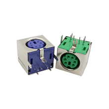 Socket-Jack-Connector Jack-Adpater Female 6-Pins 1/2pcs PS2 PCB Square Green/purple