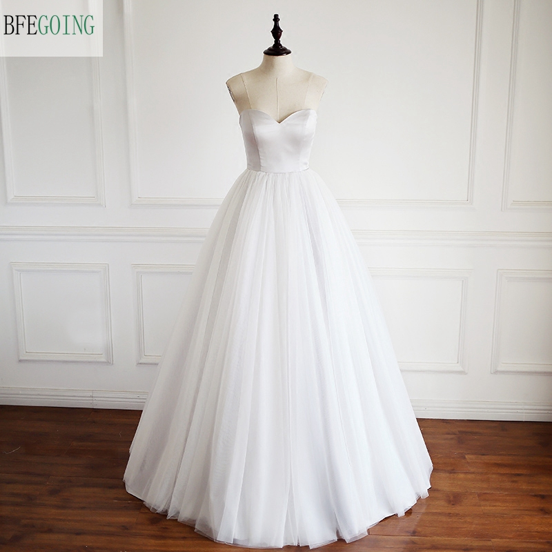 Ivory Tulle Satin Sweetheart Strapless Floor-length A-line Wedding Dress Bridal Gown Custom Made