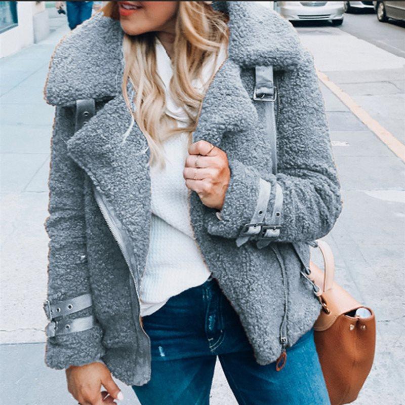 Warm Jacket Winter Coat Outwear Short Patchwork Autumn Fashion Casual Teddy Faux-Fur