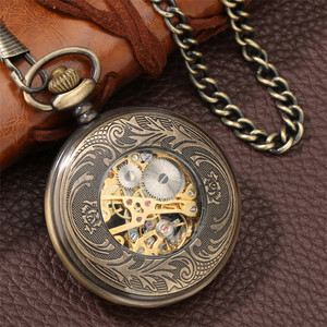 Image 4 - Bronze Hollow Mechanical Hand Winding Antique Pocket Watch Classic Antique Pocket Pendant Clock with Fob Chain