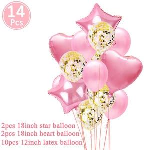 Image 5 - First Happy Birthday Pink Balloon Banner Party Decoration Star Garland Baby Kids Boy Girl My 1st One 1 Year Supplies Confetti