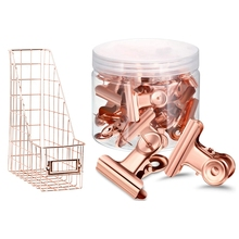 30Pcs Push Pins Clips with Thumb Tacks Set (Rose Gold) & 1 Pcs File Holder Mesh Bedroom Stationery Desk Organizer