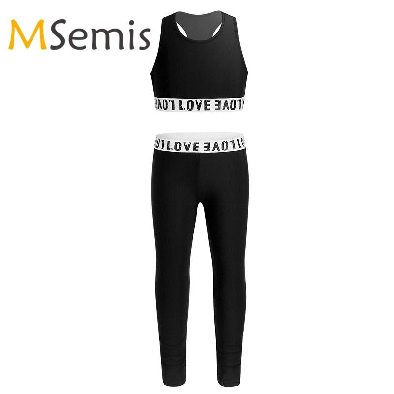 Aislor Kids Girls Racer Back Tanks Leggings Crop Top Pants Ballet Athletic Workout Fitness Gymnastics Outfit