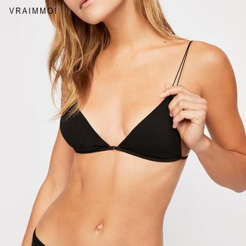 Sujetador de algodón para mujer, lencería Sexy con cierre frontal, sujetador acolchado sin aros, Bralette